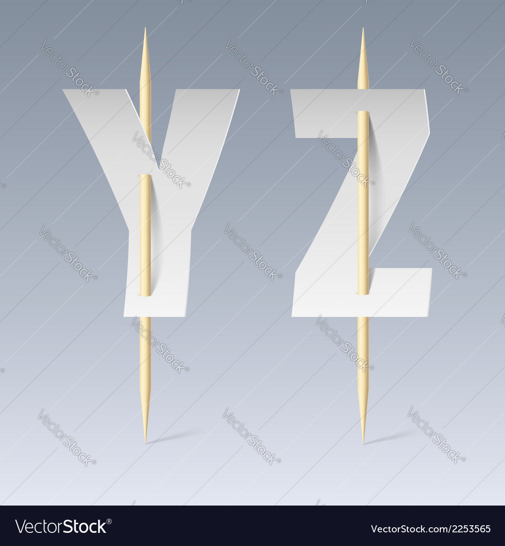 Paper font on toothpicks vector | Price: 1 Credit (USD $1)
