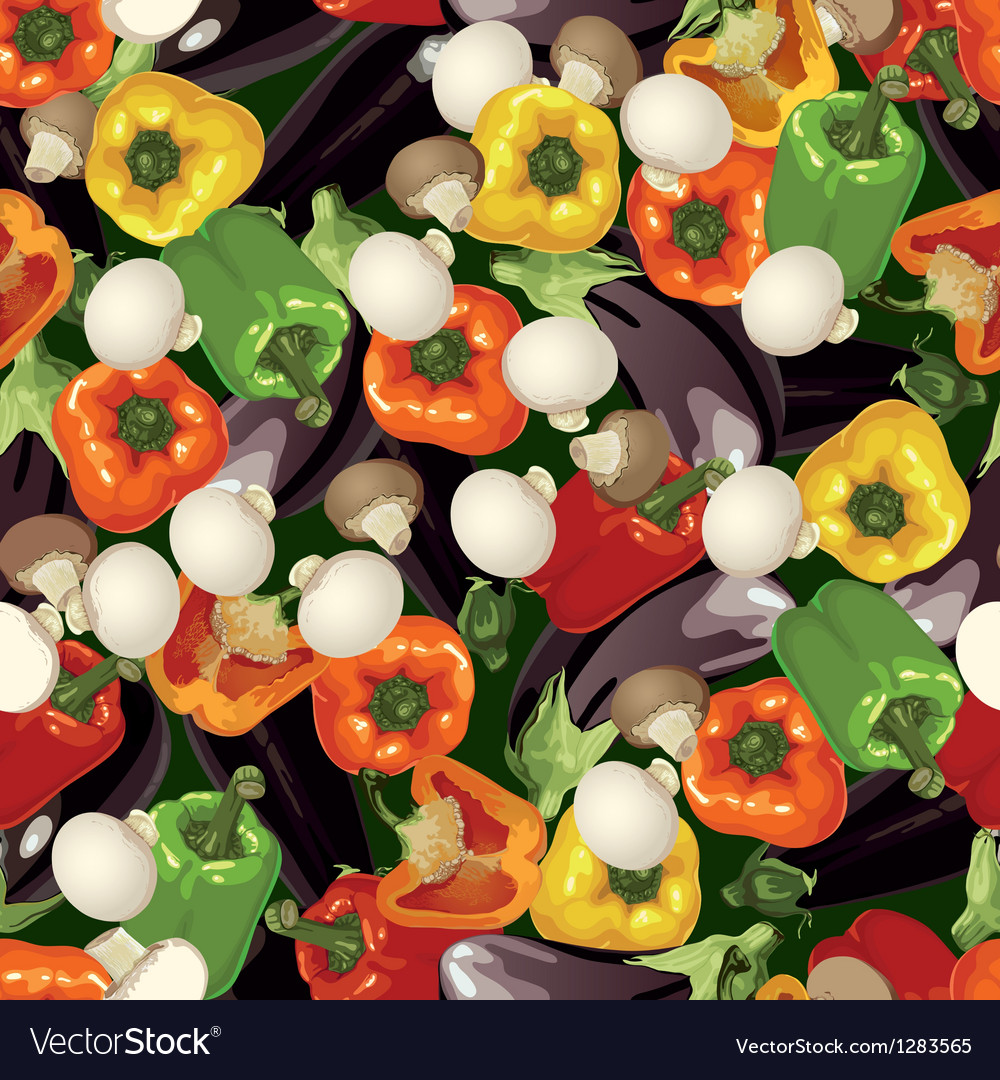 Pattern of pepper eggplant and mushroom wallpaper vector | Price: 1 Credit (USD $1)