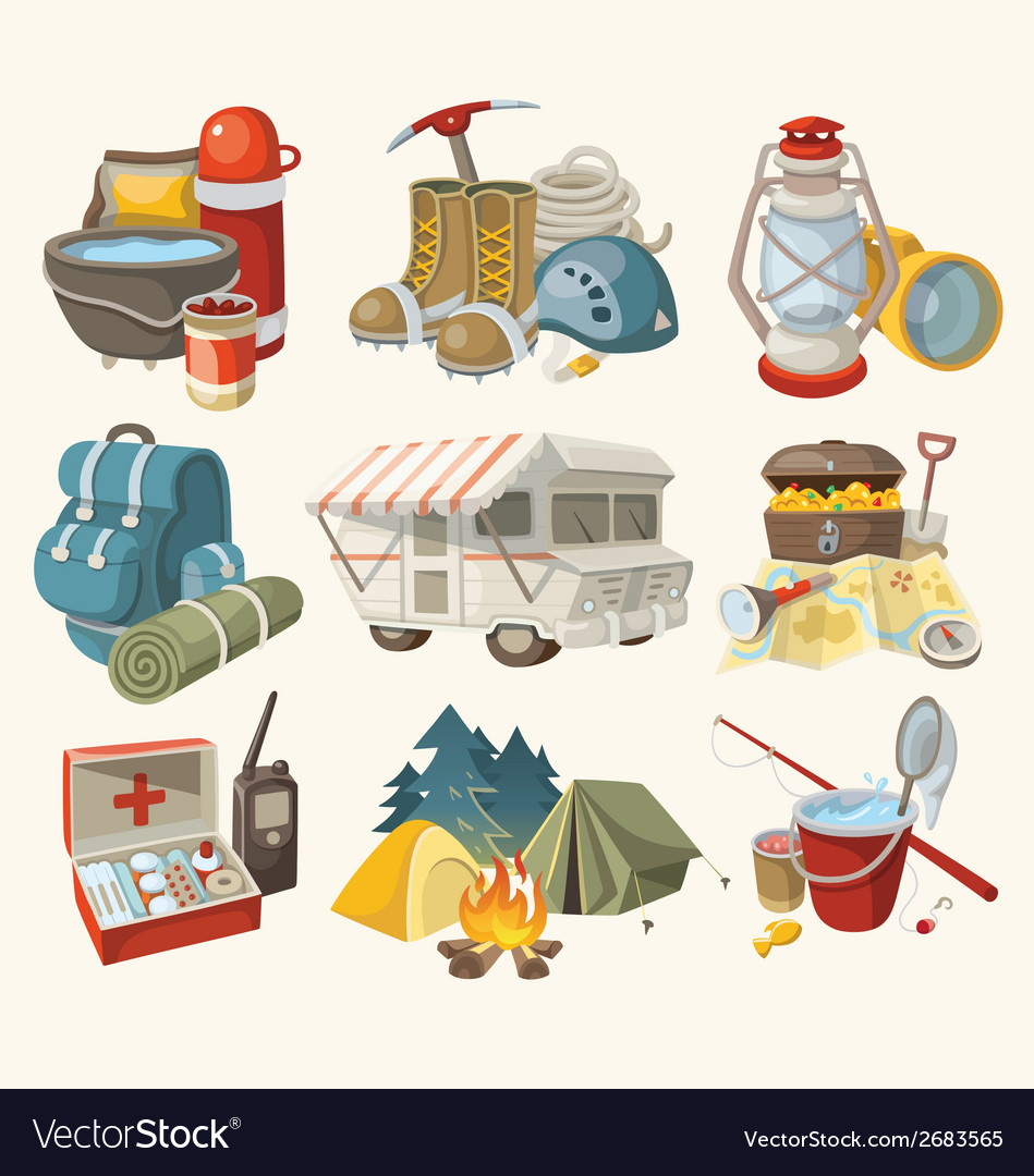 Set of items and devices for hiking vector | Price: 3 Credit (USD $3)
