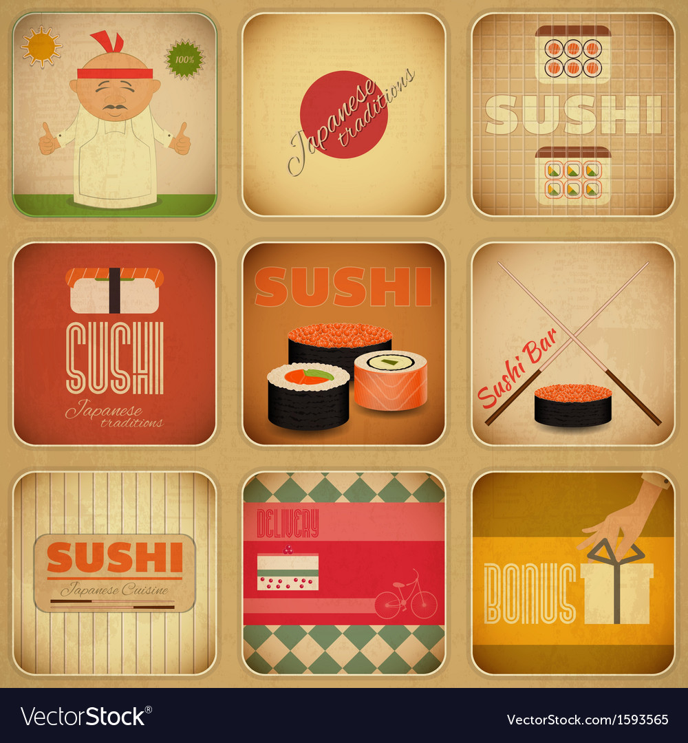 Sushi labels vector | Price: 1 Credit (USD $1)