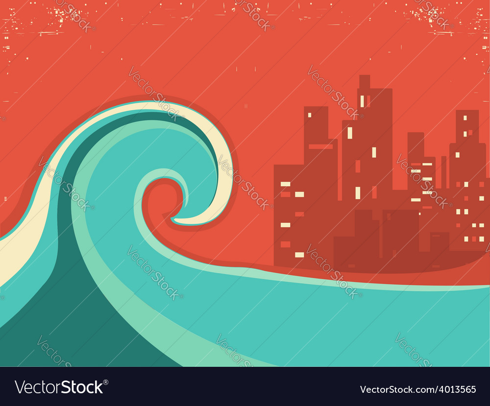 Tsunami and big city in the nighthuge wave poster vector | Price: 1 Credit (USD $1)