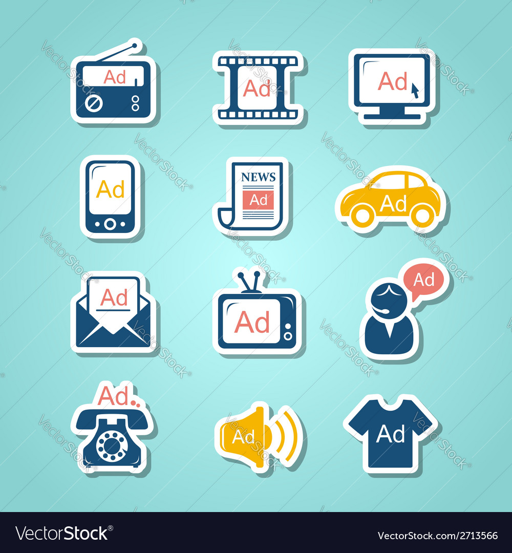 Advertisement paper cut icons vector | Price:  Credit (USD $)