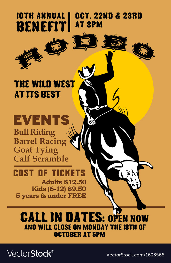 American rodeo cowboy riding bull vector | Price: 1 Credit (USD $1)