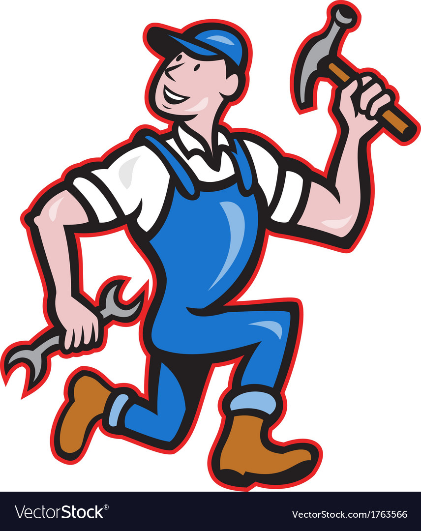 Carpenter builder hammer running cartoon vector | Price: 1 Credit (USD $1)