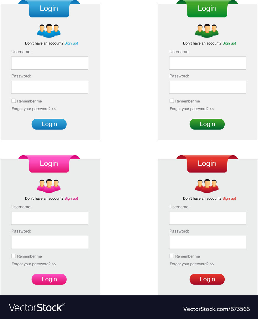 Collection of login form vector | Price: 1 Credit (USD $1)