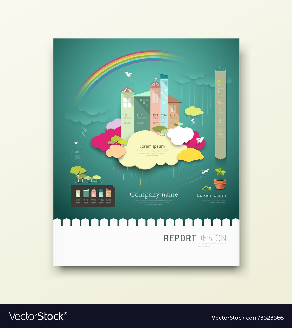 Cover report colorful paper house clouds ecology vector | Price: 1 Credit (USD $1)