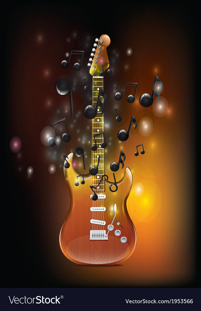 Guitar with melody vector | Price: 1 Credit (USD $1)
