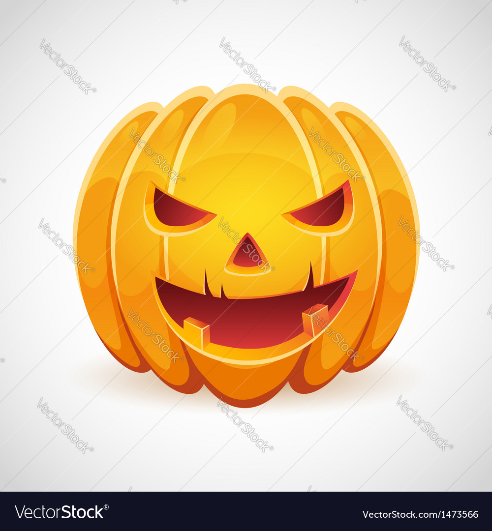 Halloween pumpkin with evil grin smile card vector | Price: 1 Credit (USD $1)