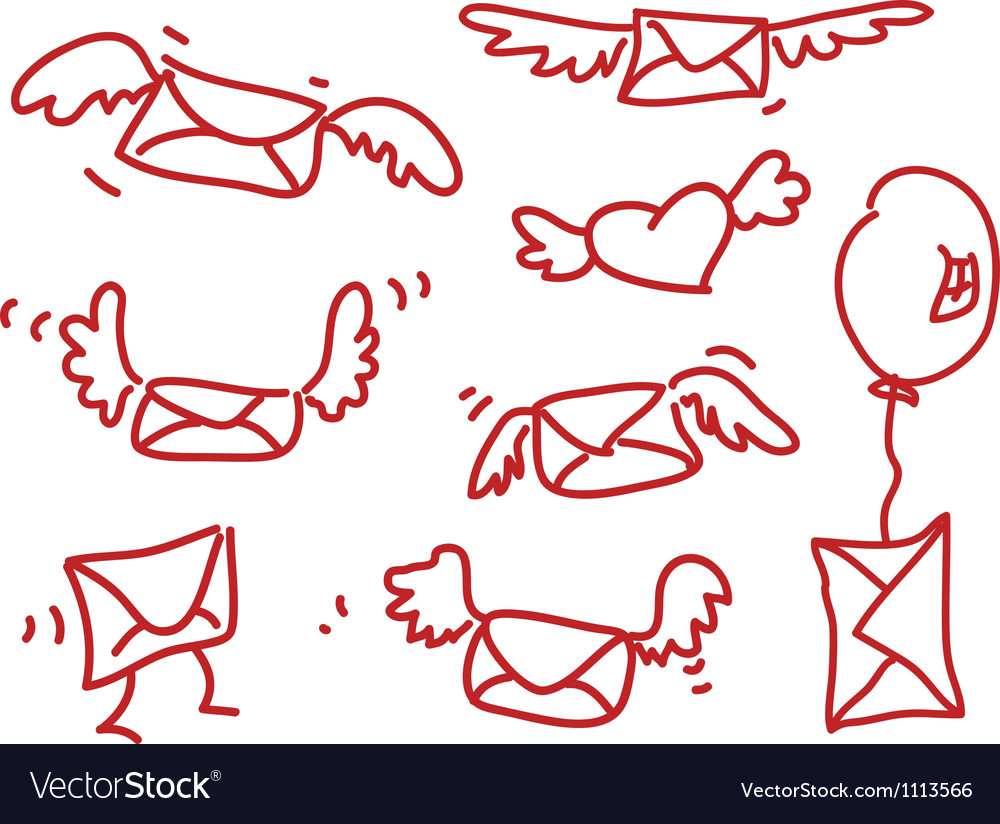 Hand drawing flying messages vector | Price: 1 Credit (USD $1)