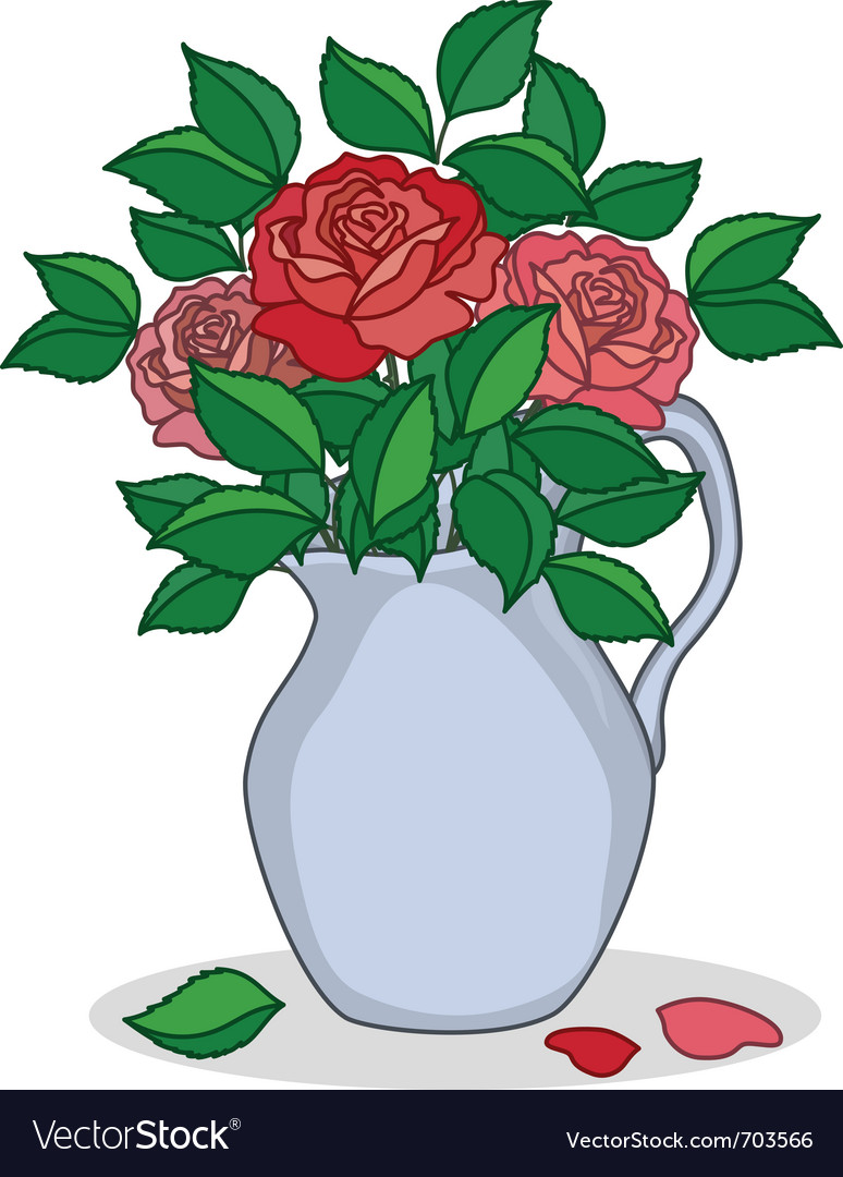 Jug with roses vector | Price: 1 Credit (USD $1)