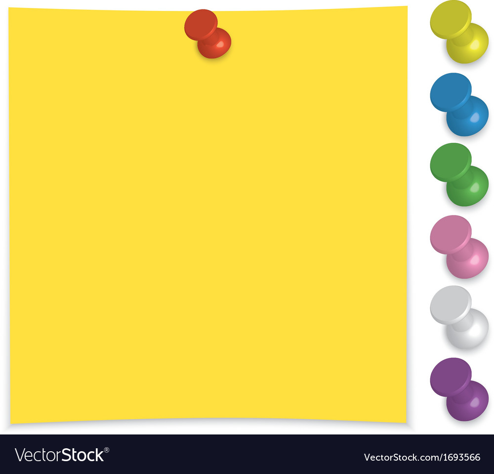 Paper note with push pin set vector