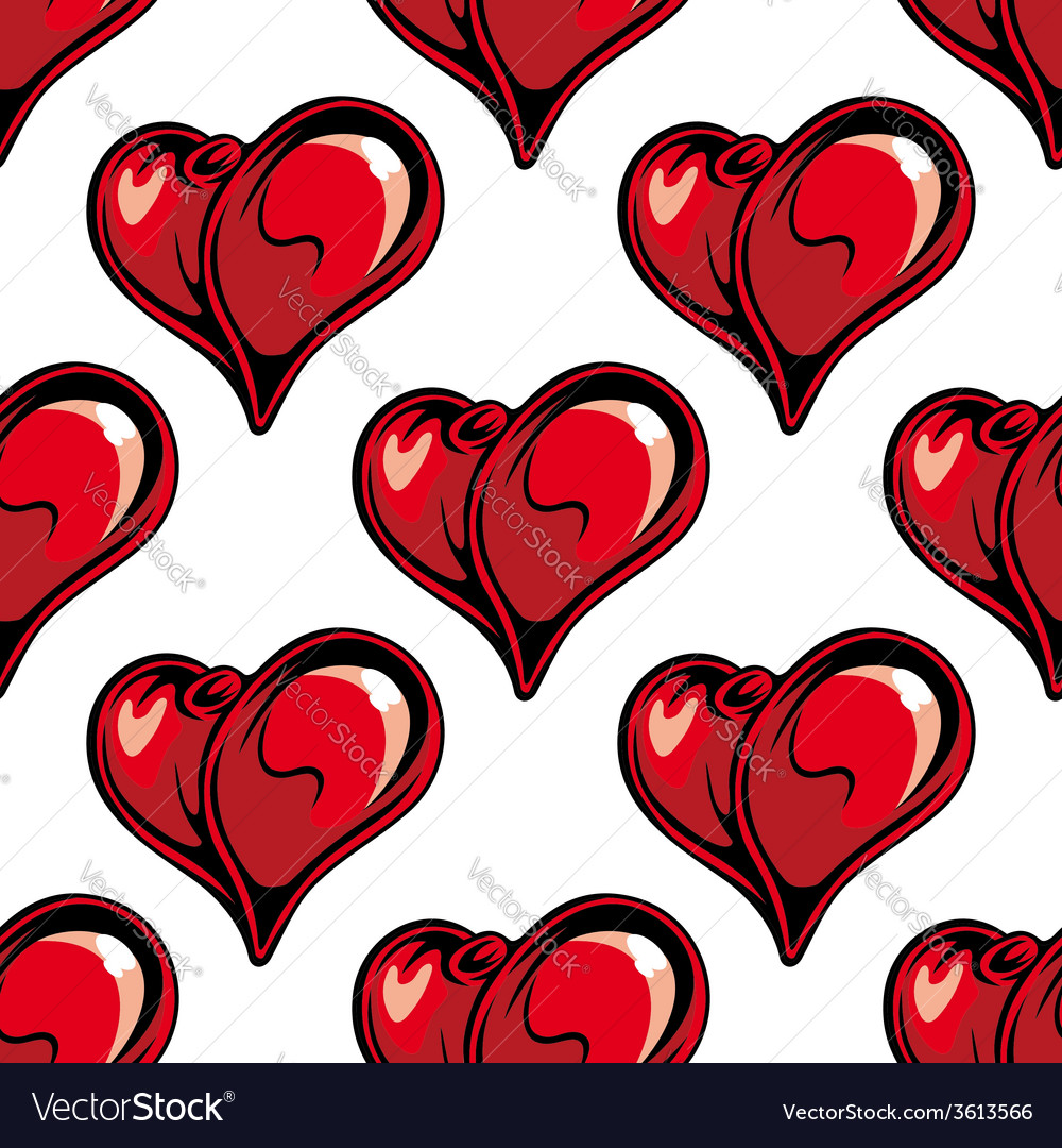 Retro red hearts seamless pattern vector   Price: 1 Credit (USD $1)