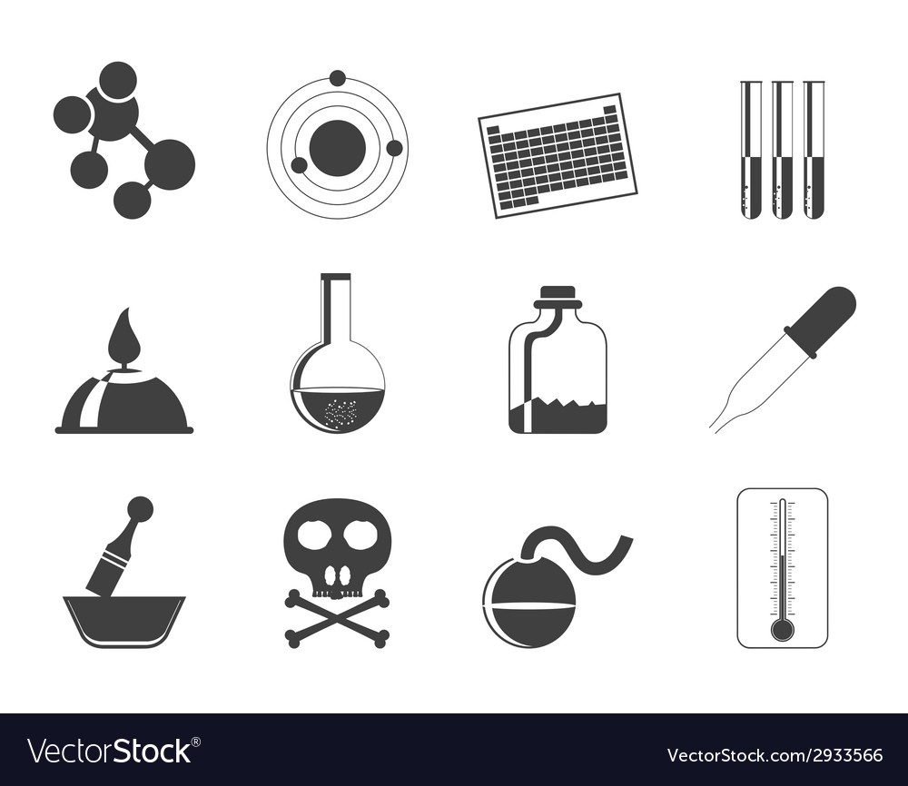 Silhouette chemistry industry icons vector | Price: 1 Credit (USD $1)