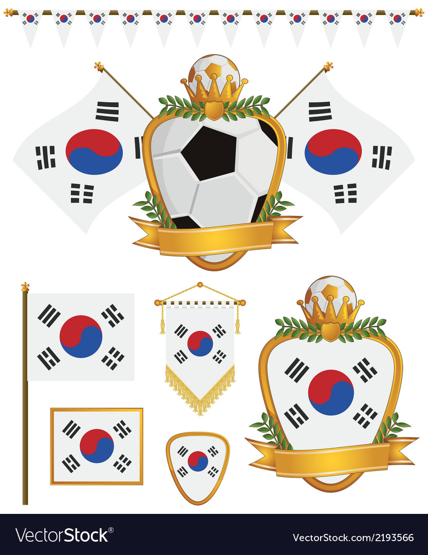 South korea flags vector | Price: 1 Credit (USD $1)