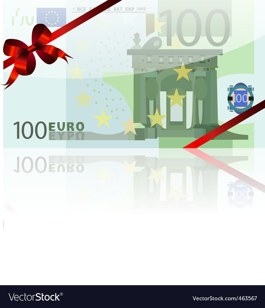 100 euro and red bow vector | Price: 1 Credit (USD $1)