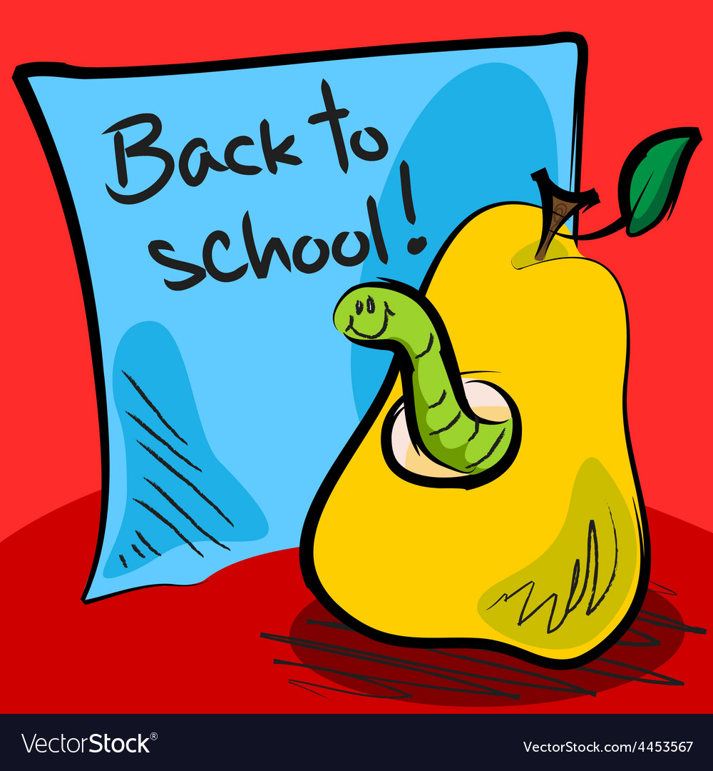 Back to school worm in pear vector | Price: 1 Credit (USD $1)