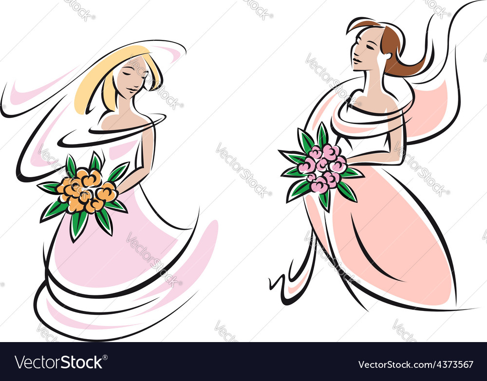 Brides in pink wedding gowns with flowers vector | Price: 1 Credit (USD $1)