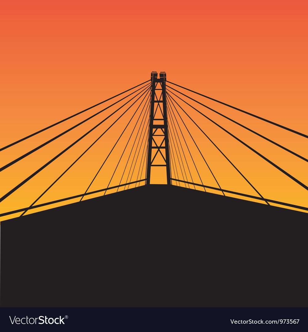 Cable-stayed bridge vector | Price: 1 Credit (USD $1)