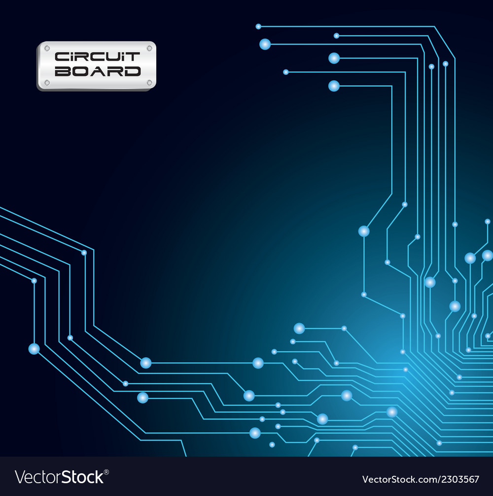 Ccircuit  board in blue tones with flashes vector | Price: 1 Credit (USD $1)
