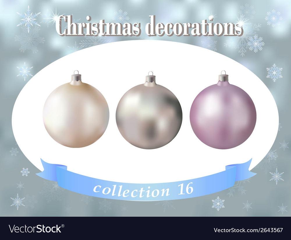 Christmas decorations collection of white silver vector | Price: 1 Credit (USD $1)