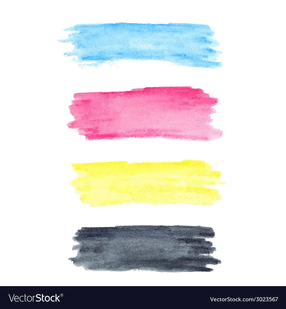 Cmyk colors watercolor stains vector | Price: 1 Credit (USD $1)