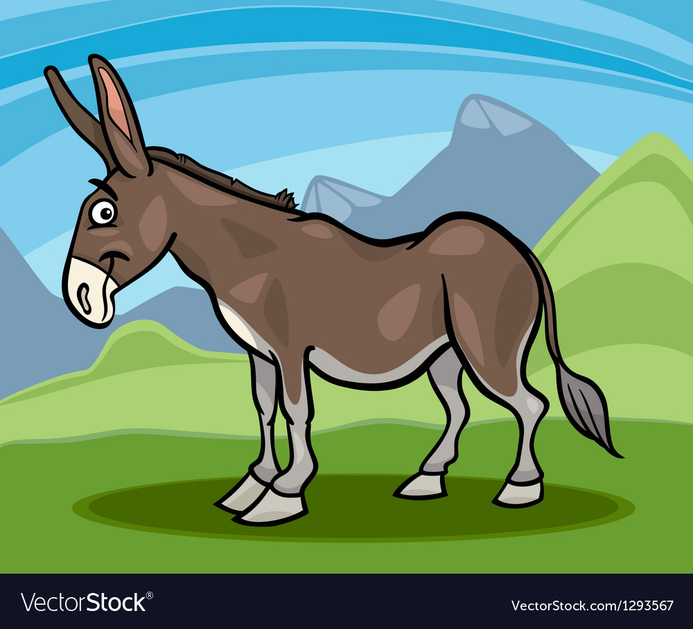 Donkey farm animal cartoon vector | Price: 1 Credit (USD $1)