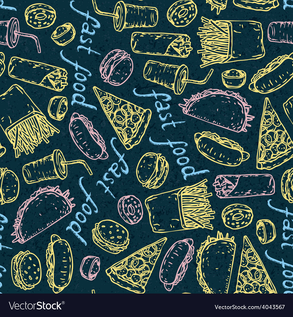 Fast food color chalk pattern vector | Price: 1 Credit (USD $1)
