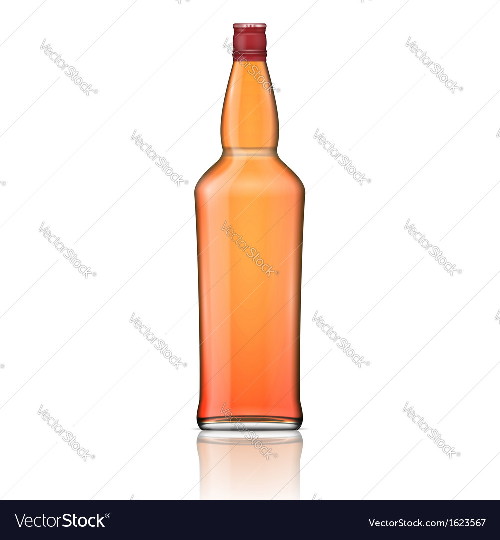 Glass whiskey bottle with red cap vector | Price: 1 Credit (USD $1)