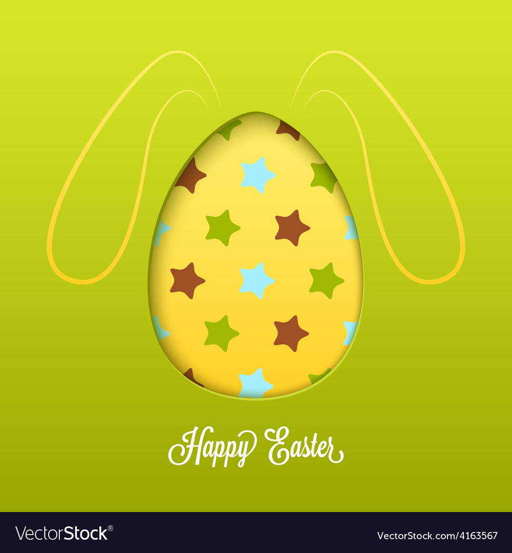 Happy easter card with cut egg and line rabbit vector | Price: 1 Credit (USD $1)