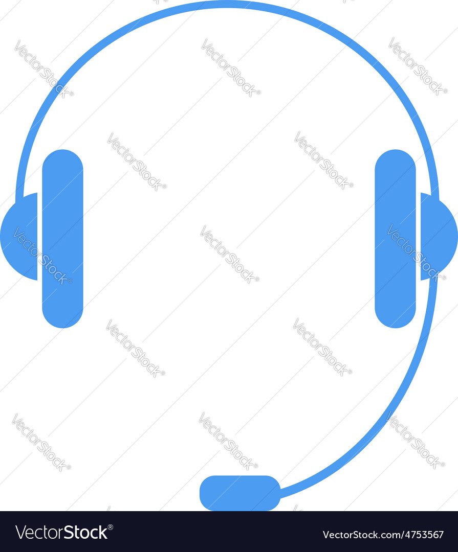 Headphones with a microphone on a white background vector | Price: 1 Credit (USD $1)
