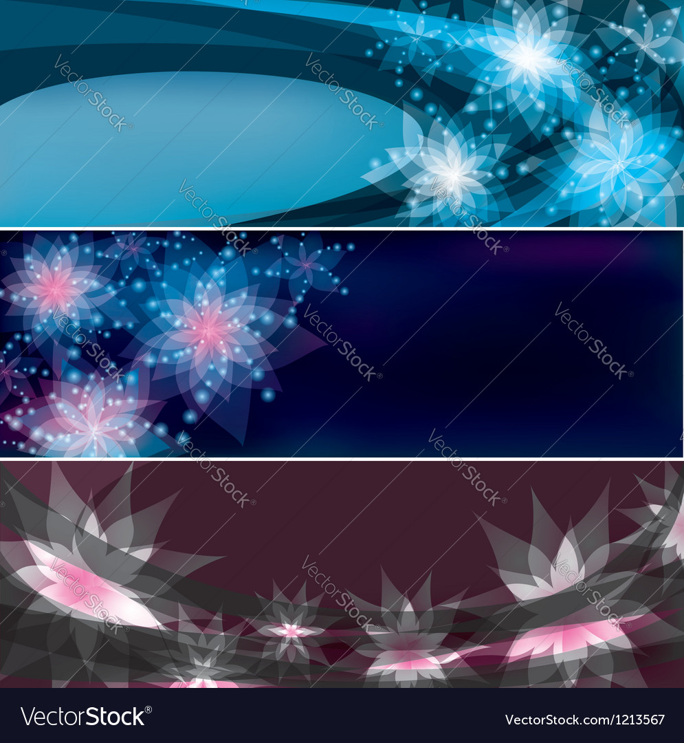 Set of bright horizontal floral banners vector | Price: 1 Credit (USD $1)