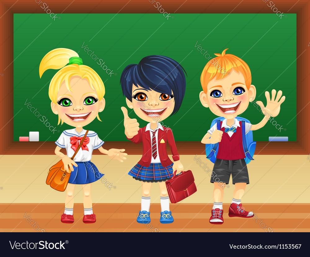 Smiling schoolchildren near blackboard vector | Price: 3 Credit (USD $3)