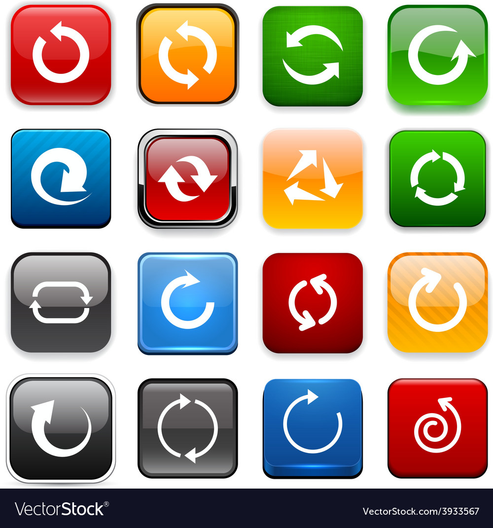 Square color arrow icons vector | Price: 1 Credit (USD $1)