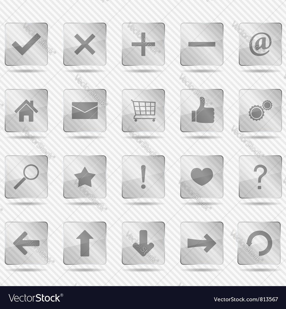 Transparent glass icons vector | Price: 1 Credit (USD $1)