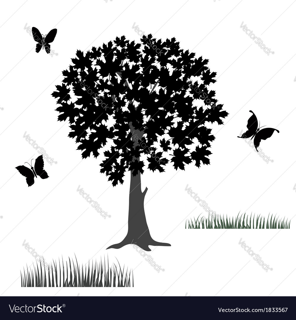 Tree and butterflies vector | Price: 1 Credit (USD $1)