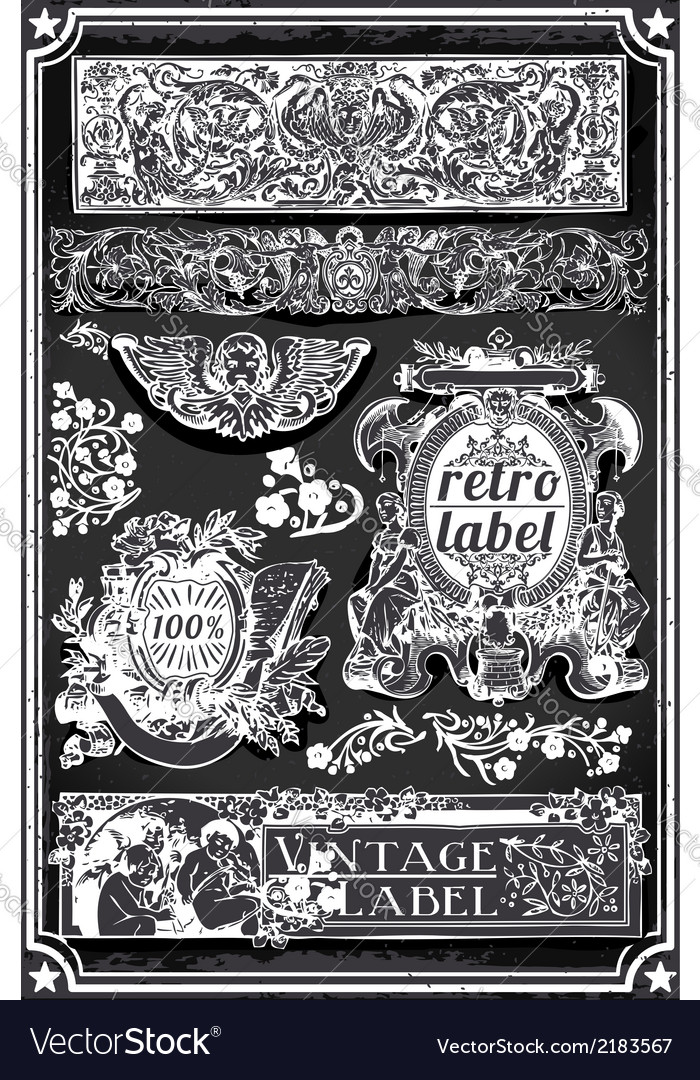 Vintage hand drawn blackboard banners and labels vector | Price: 1 Credit (USD $1)