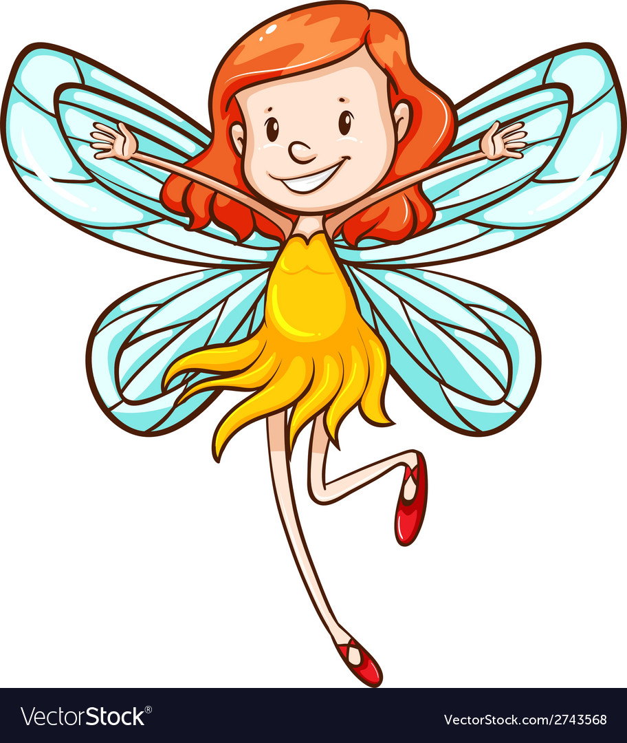 A simple sketch of a young fairy vector | Price: 1 Credit (USD $1)