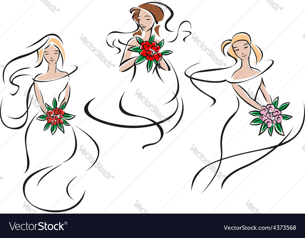 Brides or bridesmaids in classic wedding outfits vector | Price: 1 Credit (USD $1)