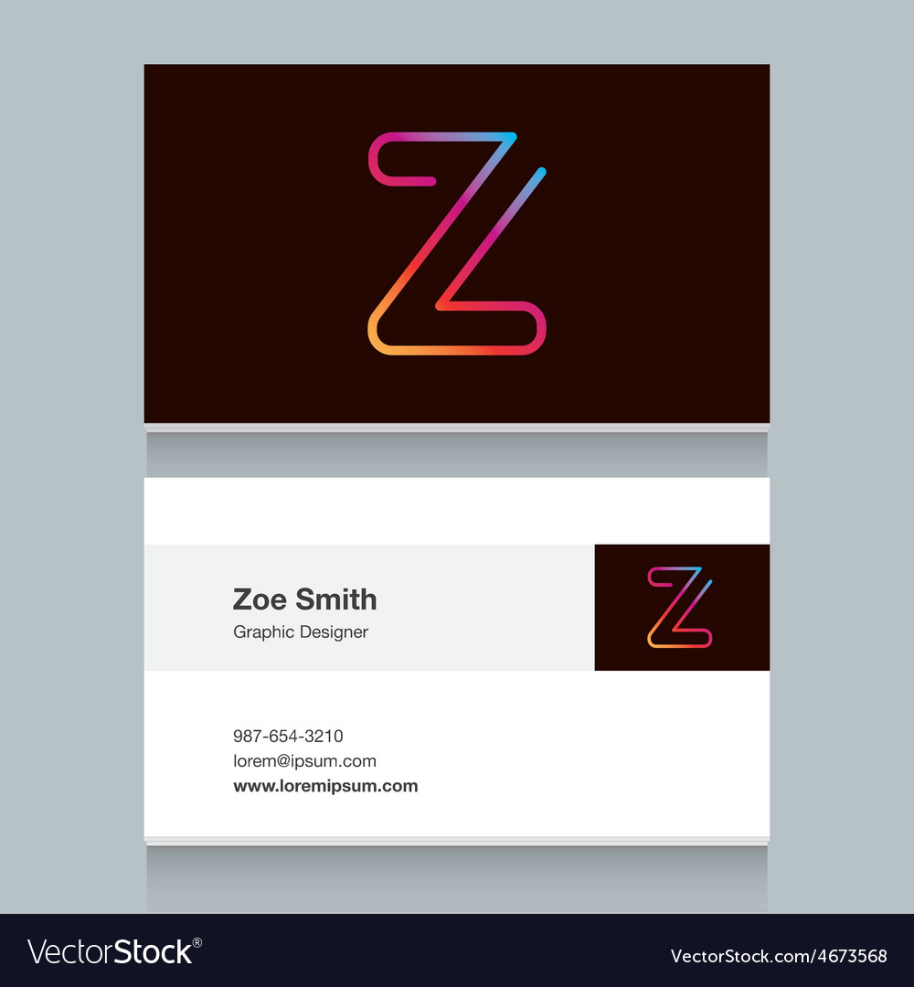 Business card letter z vector | Price: 1 Credit (USD $1)