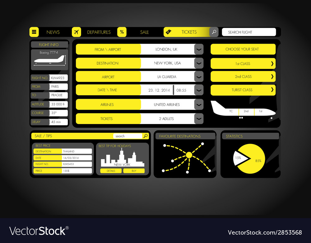 Flat design template with flight icons and symbols vector   Price: 1 Credit (USD $1)