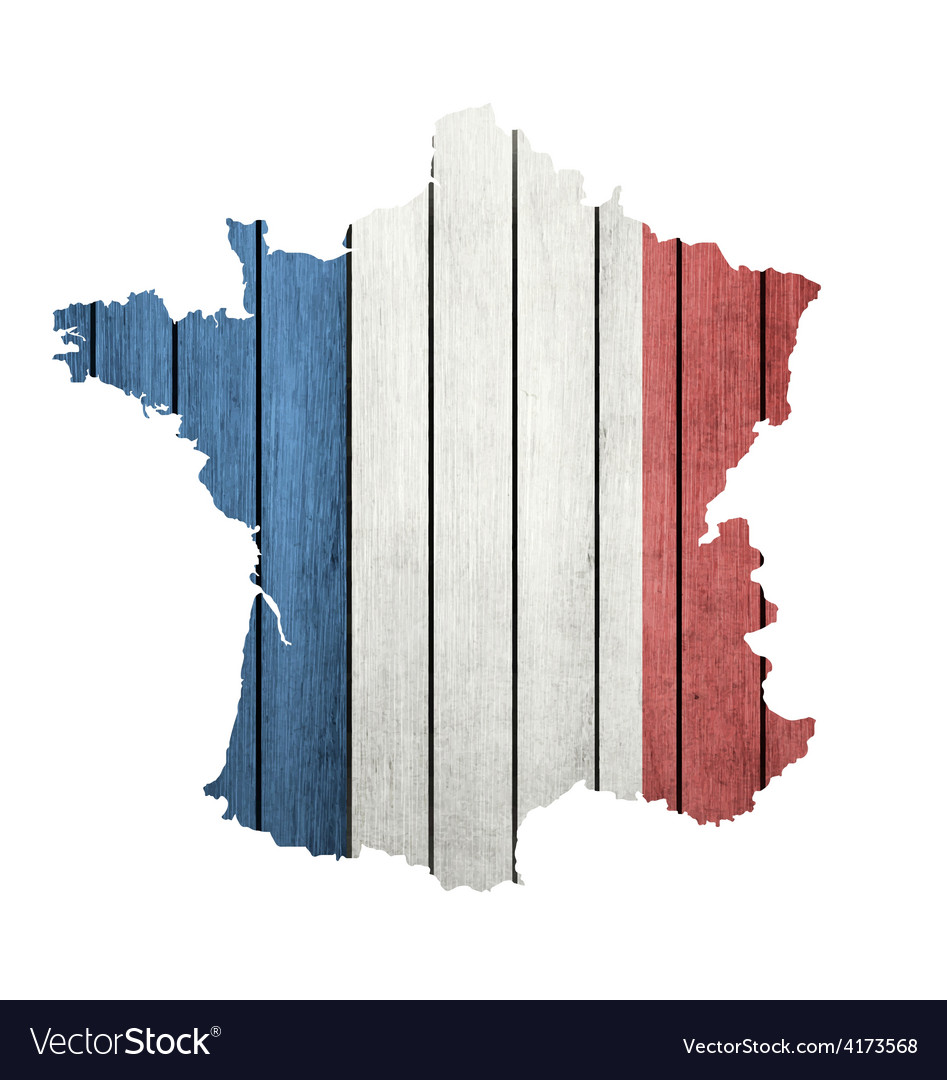 France map with wooden flag vector | Price: 1 Credit (USD $1)