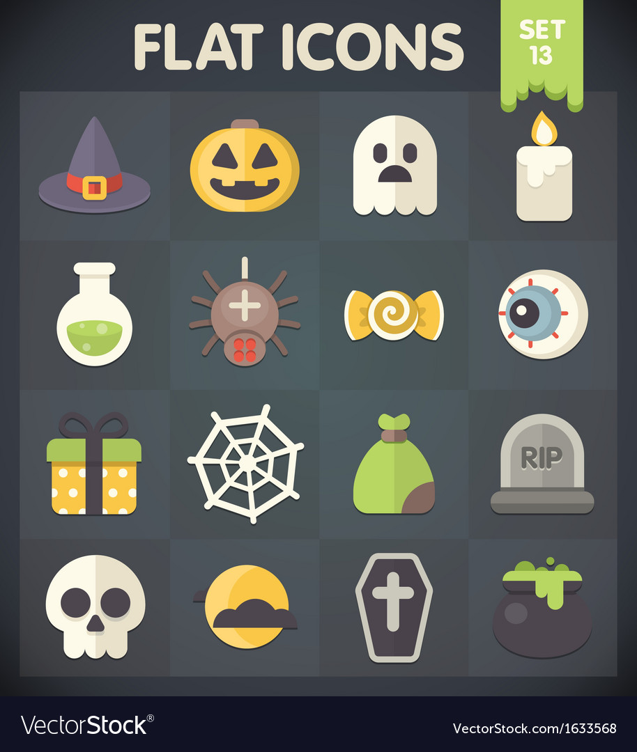 Halloween universal flat icons set 13 vector | Price: 1 Credit (USD $1)