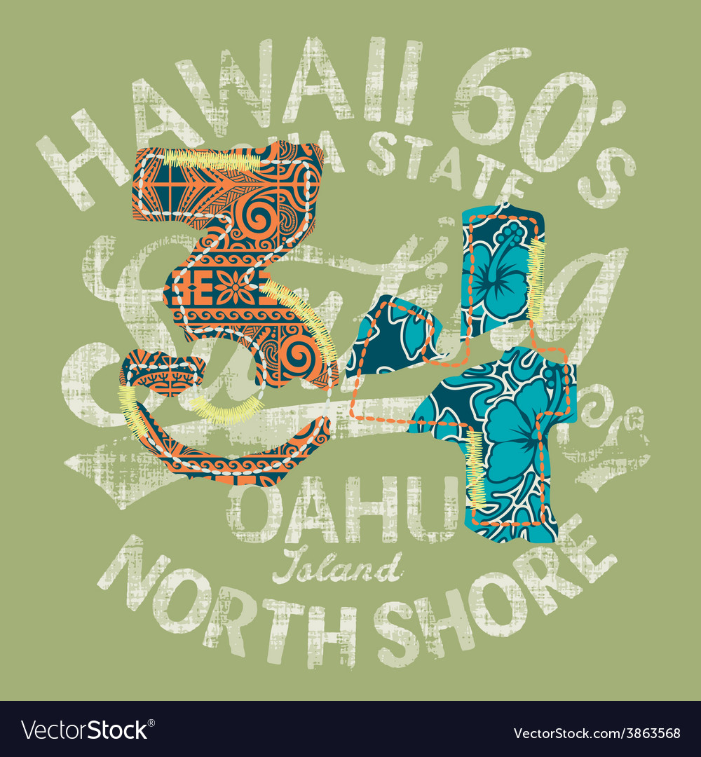 Hawaii surfing vector | Price: 3 Credit (USD $3)