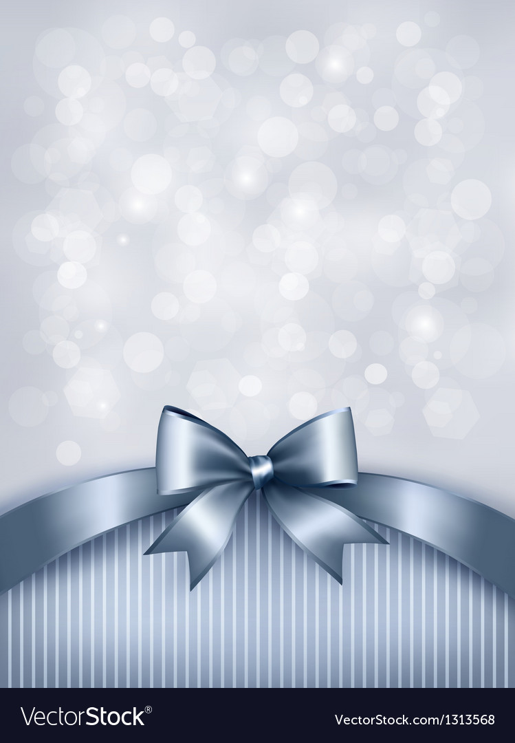 Holiday blue background with gift glossy bow and vector | Price: 1 Credit (USD $1)