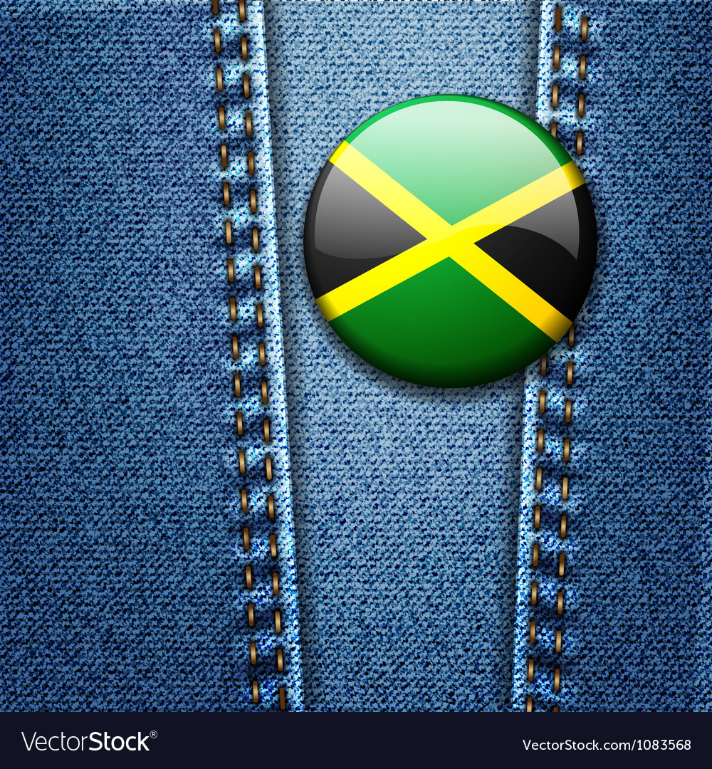Jamaica flag badge on jeans denim texture vector | Price: 1 Credit (USD $1)