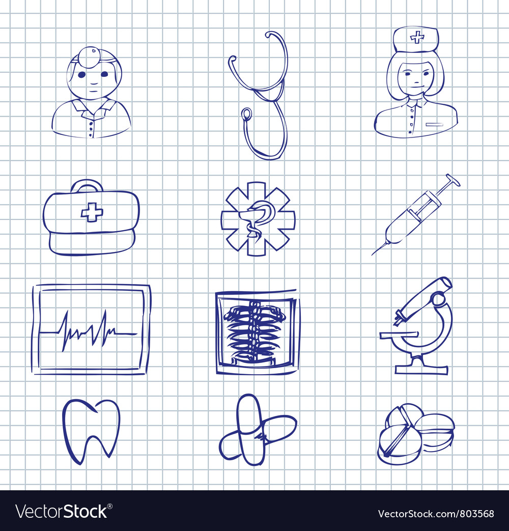 Medical and hospital symbols and icons vector | Price: 1 Credit (USD $1)