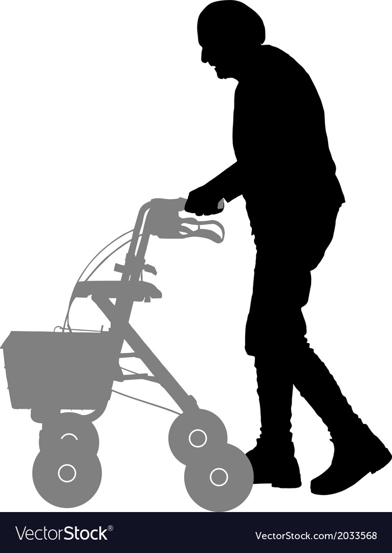 Old woman with walking frame vector | Price: 1 Credit (USD $1)