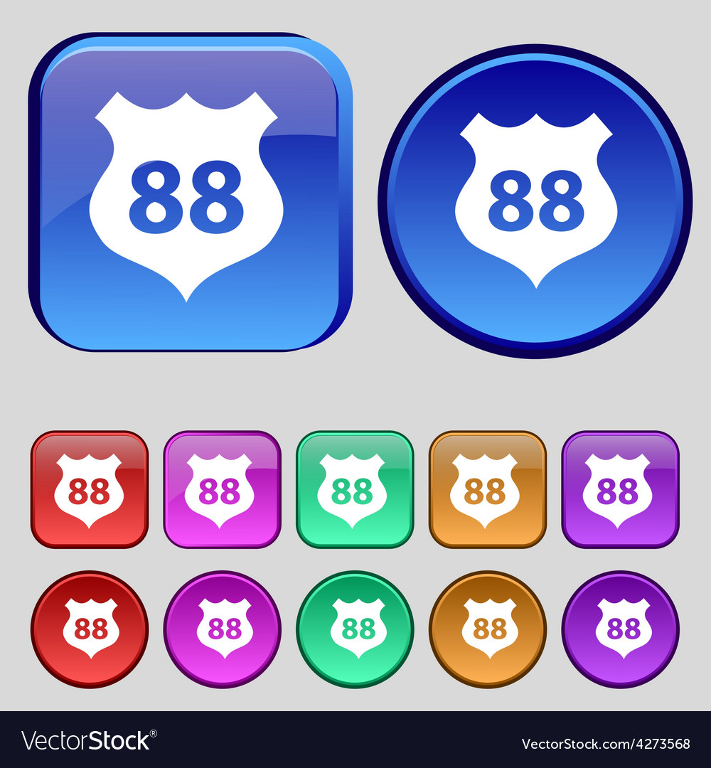 Route 88 highway icon sign a set of twelve vintage vector | Price: 1 Credit (USD $1)
