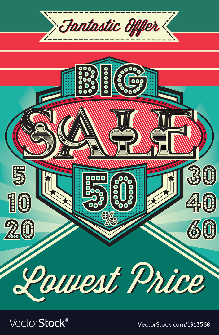 Template vintage poster for the big sale vector | Price: 1 Credit (USD $1)
