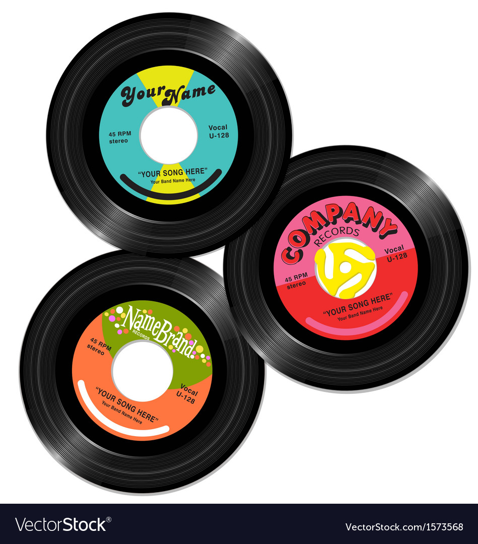 Vintage 45 record label designs set 1 vector | Price: 1 Credit (USD $1)